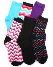 Women - Chevron Mix 6Pk Crew Socks