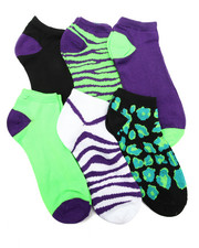 Accessories - Cheetah/ Zebra 6Pk Low Cut Socks