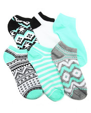 Accessories - Aztec Mix Prints 6Pk Low Cut Socks