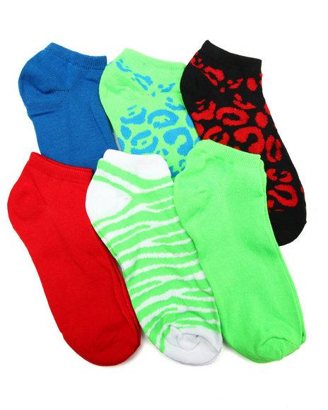 DRJ SOCK SHOP - Cheetah/ Zebra 6Pk Low Cut Socks