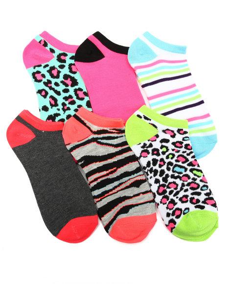 DRJ SOCK SHOP - Animal Mix Hot Brights 6Pk Low Cut Socks