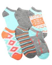 DRJ SOCK SHOP - Aztec Mix Prints 6Pk Low Cut Socks