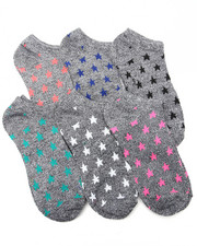 Accessories - Marled Neon Geo Print 6Pk Low Cut Socks