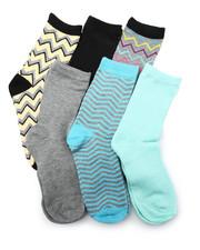 DRJ SOCK SHOP - Chevron Mix 6Pk Crew Socks