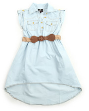 Dollhouse - Belted Hi Low Chambray Dress (7-16)
