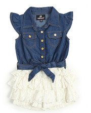 Dollhouse - Chambray /Ruflfle Lace Tier Romper (2T-4T)
