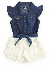 Dollhouse - Chambray /Ruffle Lace Tier Romper (4-6X)