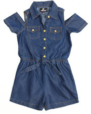 Dollhouse - Cold Shoulder Chambray Romper (4-6X)