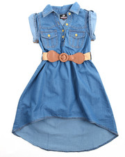 Dollhouse - Belted Hi Low Chambray Dress (4-6X)
