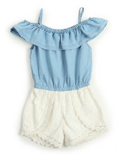 Dollhouse - Chambray & Crochet Lace Romper (4-6X)