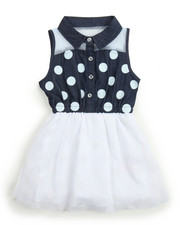 Dollhouse - Polka Dot Chambray/ Tulle Dress (2T-4T)