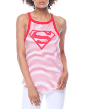 Graphix Gallery - Superman Halter Shirttail Ringer Tank