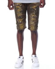 Men - Splatter Moto - Style Twill Shorts