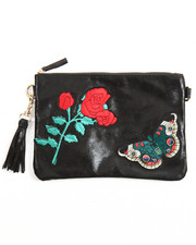 Bags - Embroidered Trim Vegan Leather Clutch