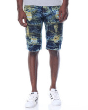 Men - Splotched Moto - Style Rip - And - Repair Denim Shorts