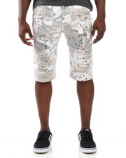 Men - Splatter Camo Moto - Style Twill Shorts