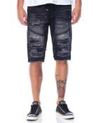 Splash - Paint Zipper Rip - Off Denim Shorts