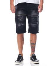 Men - Moto Twill Shorts W/ Faux Leather Backing