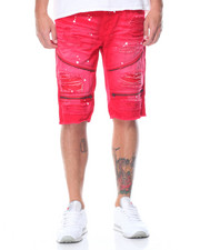 Men - Splash - Paint Zipper Rip - Off Denim Shorts