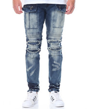 Jeans & Pants - Cargo - Pocket Moto Denim Jeans