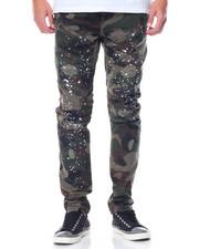 Men - Splatter Camo Moto - Style Twill Pants