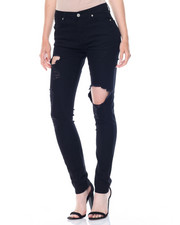 Bottoms - Hi Waist Ripped Stretch Pants