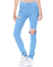 Women - Hi Waist Ripped Stretch Pants