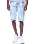 Streak Wash Stretch Denim Shorts