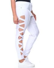 Basic Essentials - Super Stretch Lattice Side Cut Outs Skinny Pant (Plus)