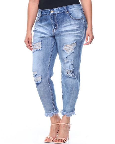 Fashion Lab - Whiskers Destructed Frayed Hem Skinny Jean (Plus)