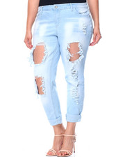 Plus Size - Blow Out Destructed Roll Cuff Skinny Jean (Plus)