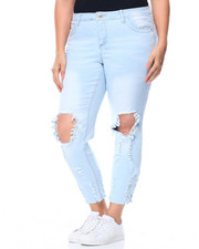 Jeans - Blow Out Knee Dog Bite Hem Skinny Jean (Plus)