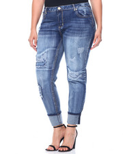 Skinny - Rips & Tears Roll Cuff Skinny Jean (Plus)