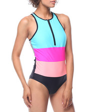 Fashion Lab - Front Zipper Racer - Back Swimsuit