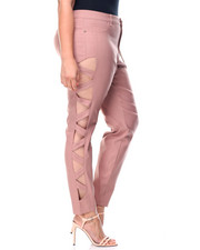 Bottoms - Super Stretch Lattice Side Cut Outs Skinny Pant (Plus)