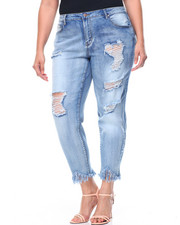 Basic Essentials - Destructed Fringe Hem Stretch Skinny Jean (Plus)