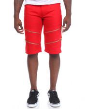 Men - Double Zip Trim Twill Shorts