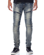 Men - Zip Moto Stretch Denim Jeans