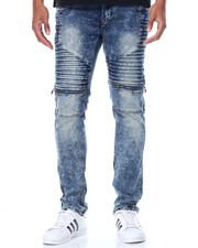 Men - Zip Pleat - Trim Moto Denim Jeans