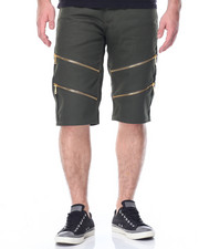 Men - Double Zip Trim Twill Shorts