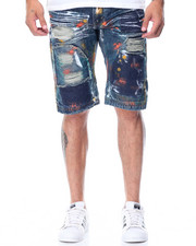 Shorts - Multi Colored Patches Denim Shorts