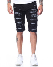 Shorts - Reflective Trim Ripped Shorts