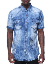 Button-downs - Washed Denim Vintage Patches Shirt