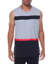 Men - Sleeveless Zipper Sides Color Block Tee
