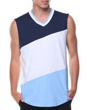Men - Sleeveless Color Block Tee