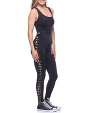 Jumpsuits - Lace-up Side Tank Catsuit