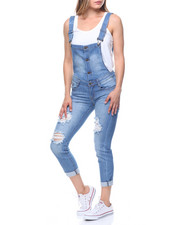 Fashion Lab - Button Front Low Back Cuffed Overall