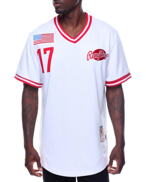 REMY BOYZ - Red Joint V Neck Remy Logo Base Ball Shirt