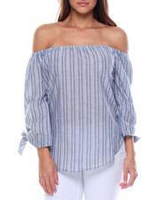 Tops - Cotton Stripe Off Shoulder Tie Sleeve Top