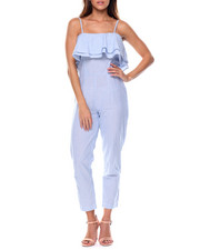 Jumpsuits - Twill Stripe Ruffle Jumpsuit